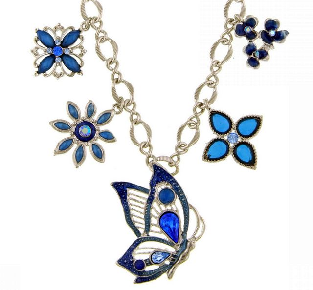 Sapphire Blue Butterfly and Flower Necklace