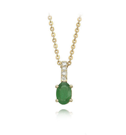 14K Gold Oval Emerald Necklace