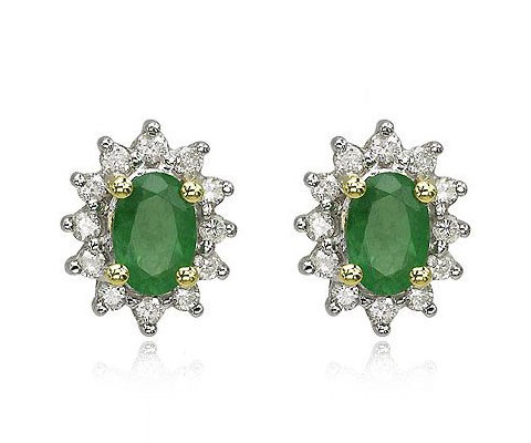 Oval Emerald Trim Earrings