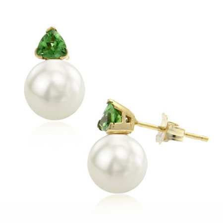 Pearl and Tsavorite Earrings