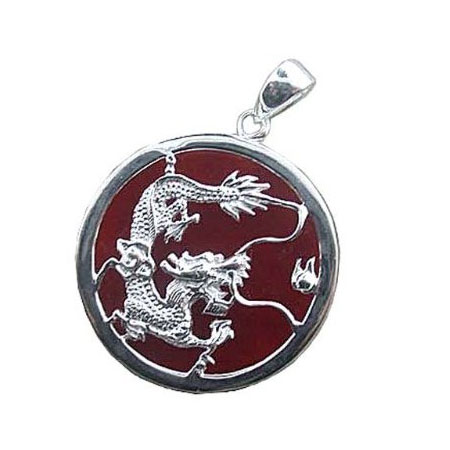 Red Jade Dragon Pendant
