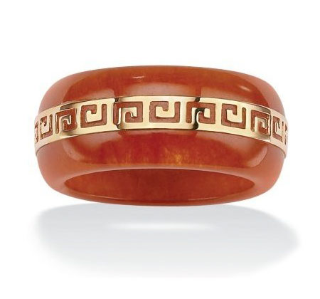 Red Jade Greek Style Ring