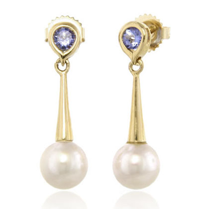 Pearl & Tanzanite Drop Earrings