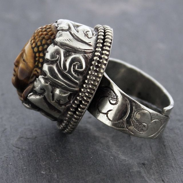 Silver Adjustable Tiger Eye Buddha Rings